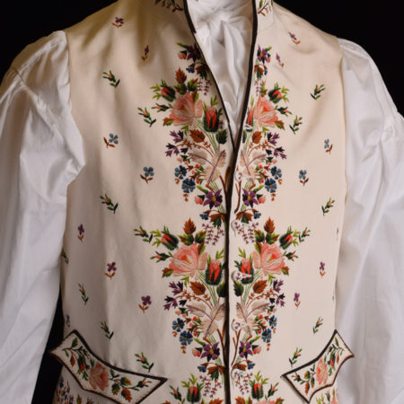 Authentic reproduction of an 18th Century embroidered waistcoat for Darcy Clothing