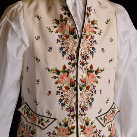 Reproduction of an 18th Century embroidered waistcoat for Darcy Clothing